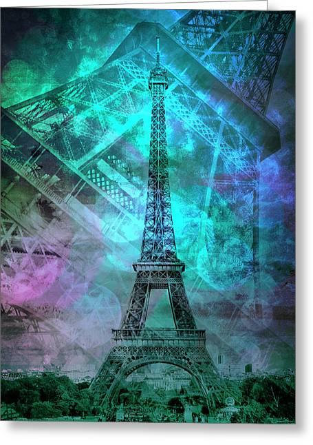 Pop Art Eiffel Tower II Greeting Card by Melanie Viola