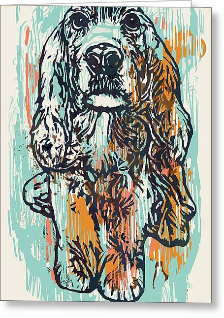 Pop Art Etching Poster - Dog   Greeting Card by Kim Wang