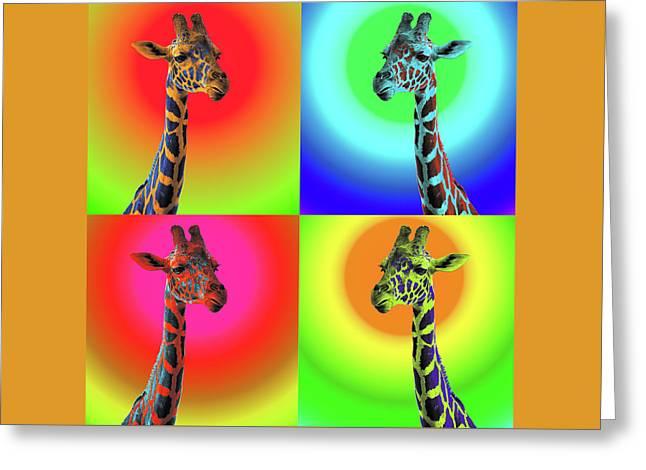 Pop Art Giraffe Greeting Card