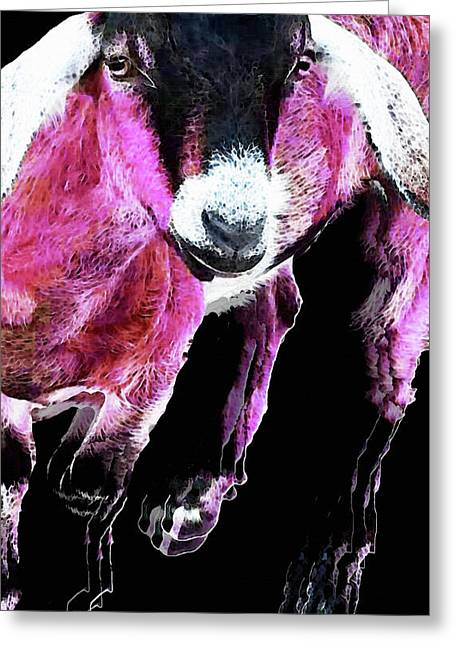 Pop Art Goat - Pink - Sharon Cummings Greeting Card by Sharon Cummings