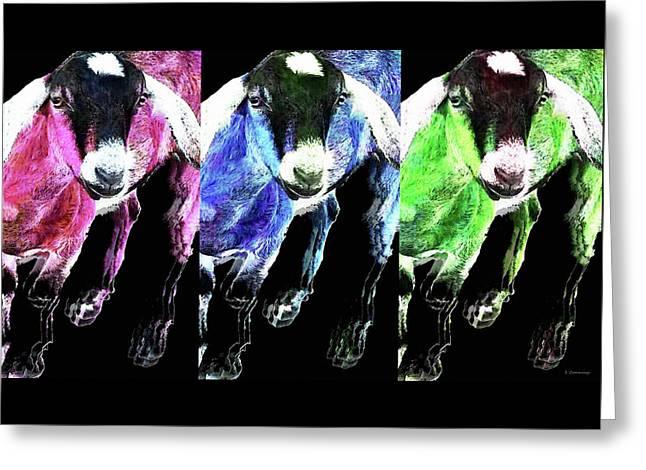 Pop Art Goats Trio - Sharon Cummings Greeting Card by Sharon Cummings