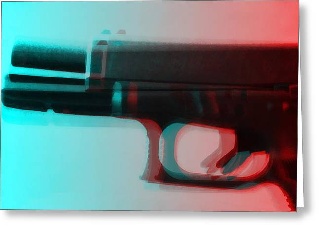 Pop Art Gun Greeting Card by Dan Sproul