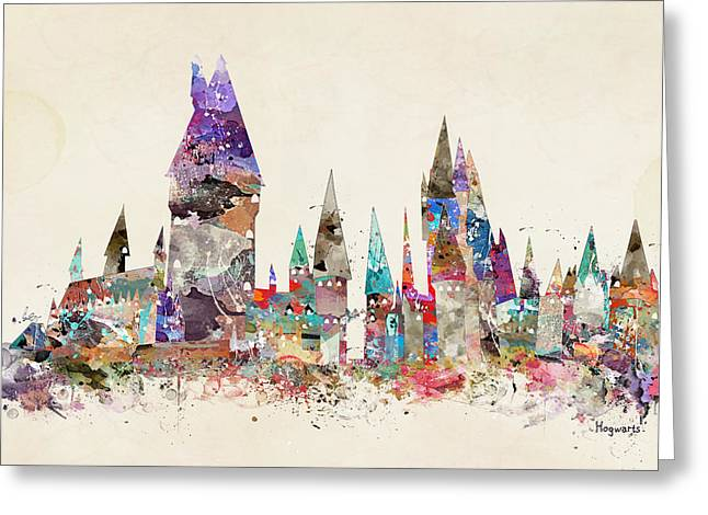 Pop Art Hogwarts Castle Greeting Card
