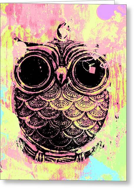 Pop Art Owl Watercolour Greeting Card by Jorgo Photography - Wall Art Gallery