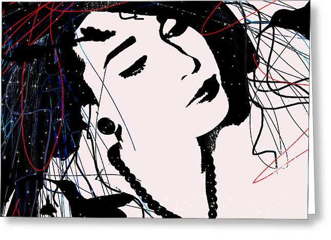 Pop Art   People Woman China Mix Carmen Sander  Greeting Card