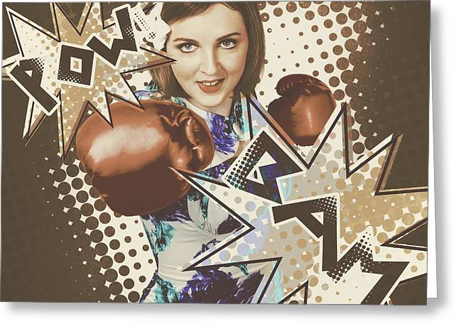 Pop Art Photo Illustration. Cartoon Comic Boxer Greeting Card by Jorgo Photography - Wall Art Gallery