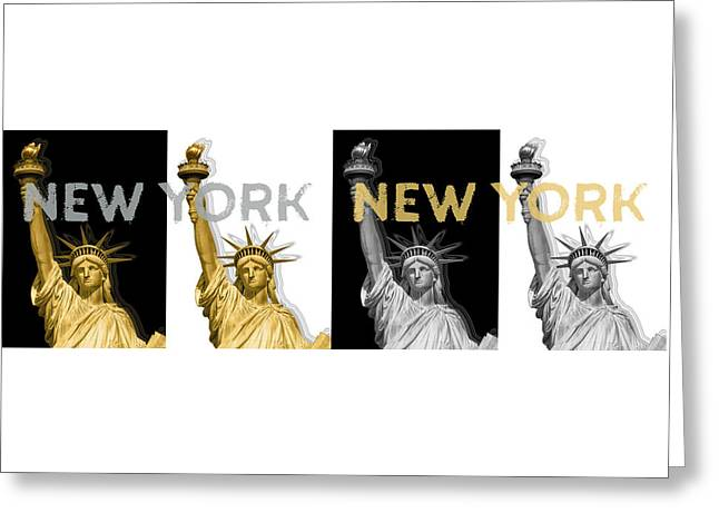 Pop Art Statue Of Liberty - New York New York - Panoramic Golden Silver Greeting Card