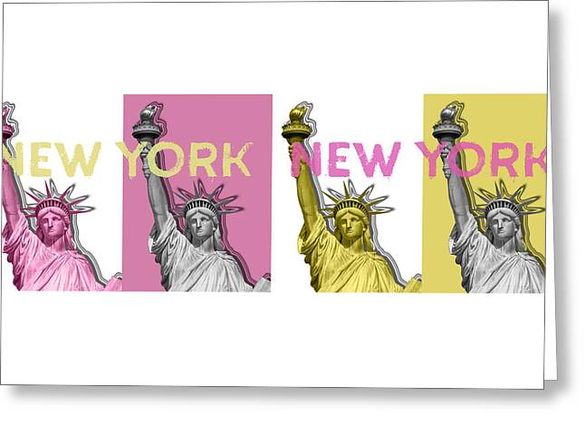 Pop Art Statue Of Liberty - No3 Panoramic Greeting Card