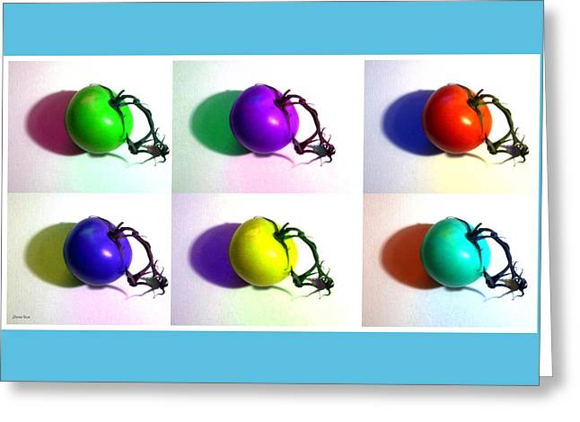 Pop-art Tomatoes Greeting Card by Shawna Rowe