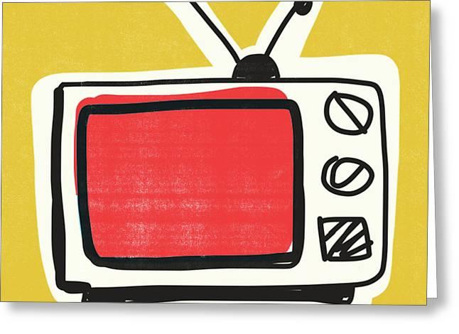 Pop Art Tv- Art By Linda Woods Greeting Card