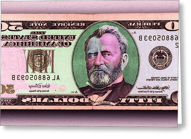 Crisp New 50 Dollar Bill Pink Orange Mirror Image Greeting Card
