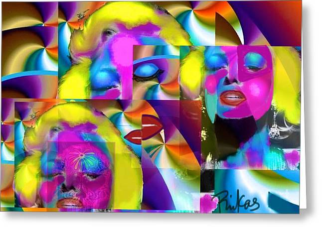 Pop Cubist Marilyn Greeting Card by Diana Riukas