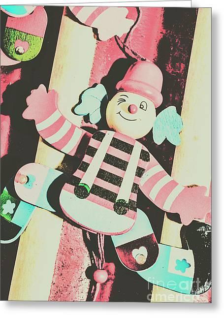 Pop Up Clown Art Greeting Card