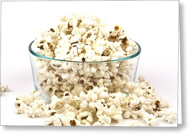 Popcorn In Glass Bowl Greeting Card