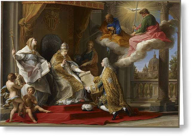 Pope Benedict Xiv Presenting The Encyclical Ex Omnibus To The Comte De Stainville Greeting Card