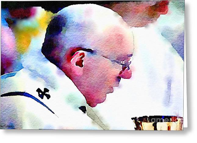 Pope Francis And Cup Greeting Card by Denise Haddock