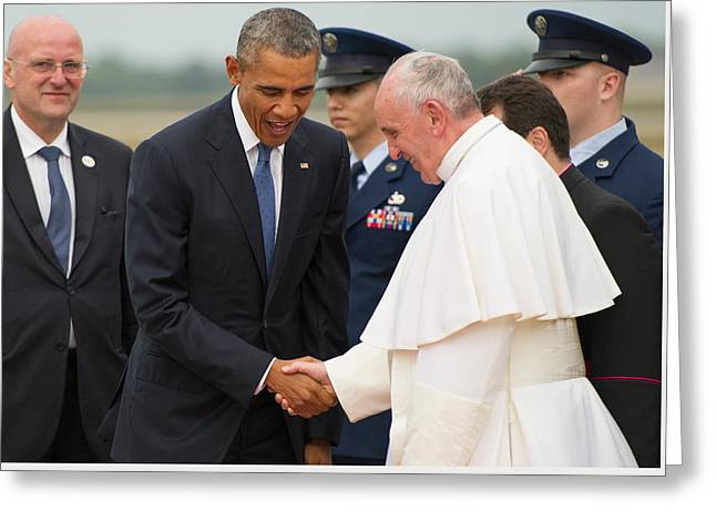 Pope Francis And President Obama Greeting Card by Mountain Dreams