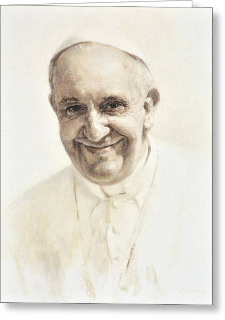 Pope Francis, Joyful Father Greeting Card by Smith Catholic Art