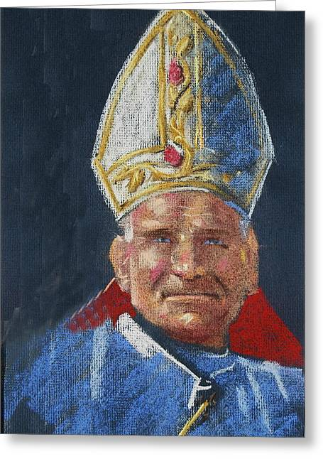 Greeting Card featuring the painting Pope John Paul 11 by Len Stomski