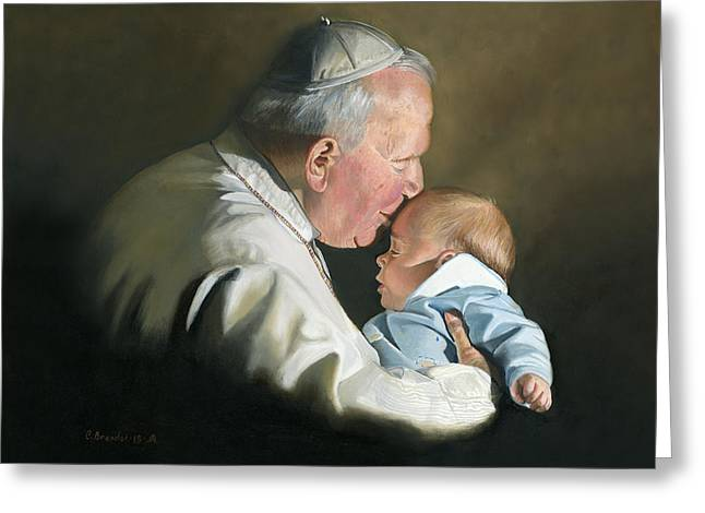 Pope John Paul II With Baby Greeting Card
