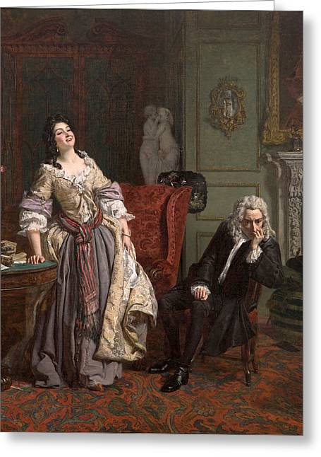 Pope Makes Love To Lady Mary Wortley Montagu Greeting Card