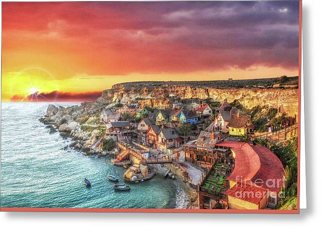 Popeye's Village At Sunset Greeting Card by Stephan Grixti