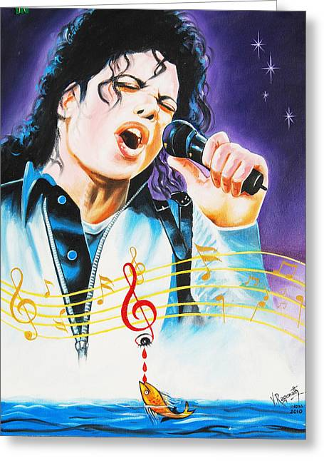 Greeting Card featuring the painting Popking Michael Jackson by Ragunath Venkatraman