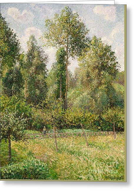 Poplars, Eragny, 1895 Greeting Card by Camille Pissarro