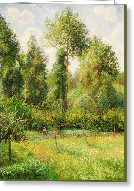 Greeting Card featuring the painting Poplars - Eragny by Camille Pissaro