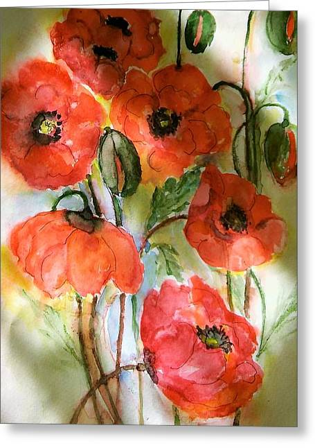 Poppies, 2017 Greeting Card by Hedwig Pen
