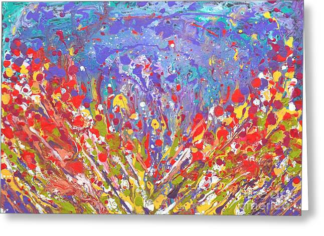 Poppies Abstract Meadow Painting Greeting Card