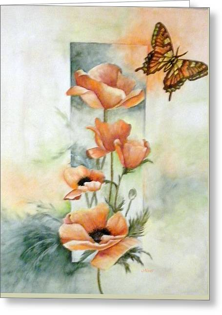 Poppies And Butterfly Greeting Card