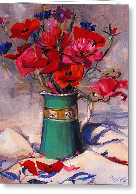 Poppies And Cornflowers In Green Jug Greeting Card by Sue Wales