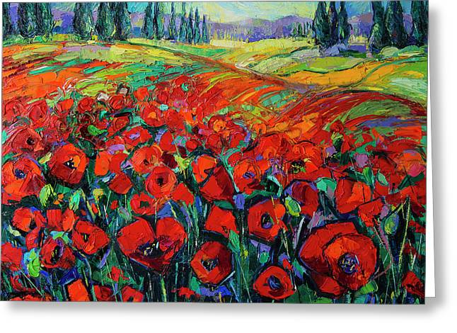 Poppies And Cypresses - Modern Impressionist Palette Knives Oil Painting Greeting Card