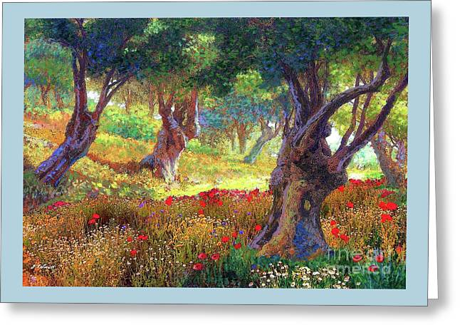 Poppies And Olive Trees,tranquil Grove Greeting Card by Jane Elizabeth Small