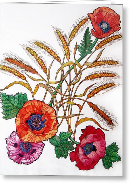 Poppies And Wheat Greeting Card by Vlasta Smola