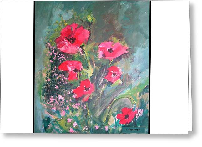 Poppies Greeting Card by Angela Puglisi