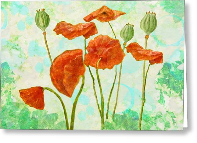Greeting Card featuring the mixed media Poppies by Angeles M Pomata
