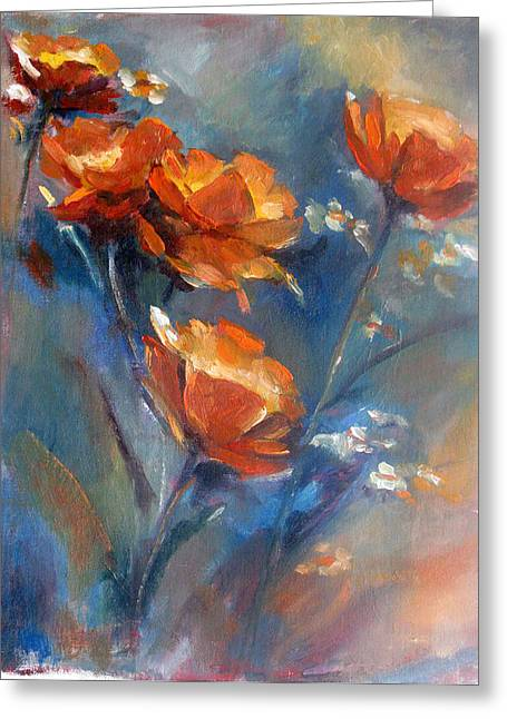 Poppies Greeting Card by Bin Feng
