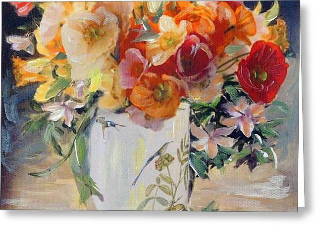 Poppies, Clematis, And Daffodils In Porcelain Vase. Greeting Card