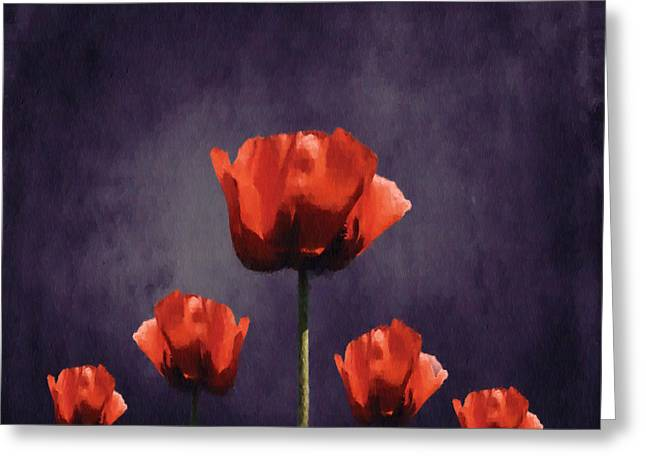 Poppies Fun 01b Greeting Card by Variance Collections
