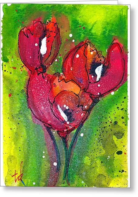 Poppies I Greeting Card by Tonya Doughty