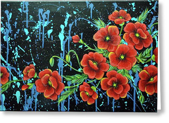 Poppies In A Modern Backgrownd Greeting Card