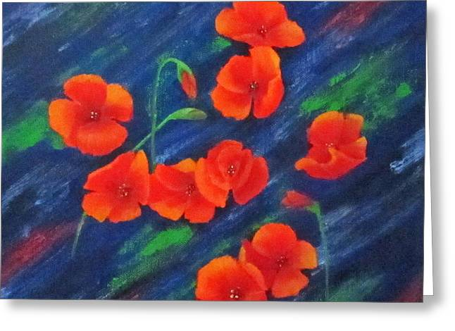 Poppies In Abstract Greeting Card by Roseann Gilmore