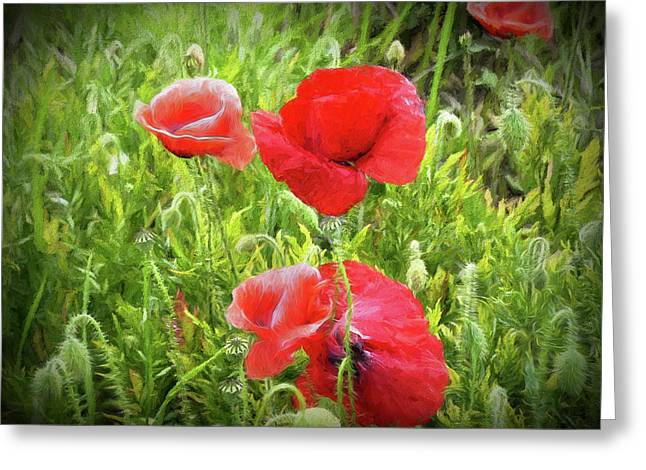 Poppies In Paris Greeting Card by Louloua Asgaraly