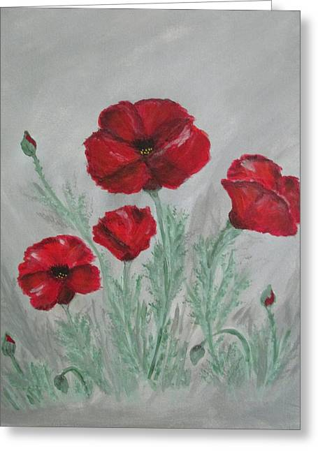Poppies In The Mist Greeting Card by Sharyn Winters