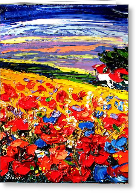 Poppies In The Spring Time.  Greeting Card by Maya Green