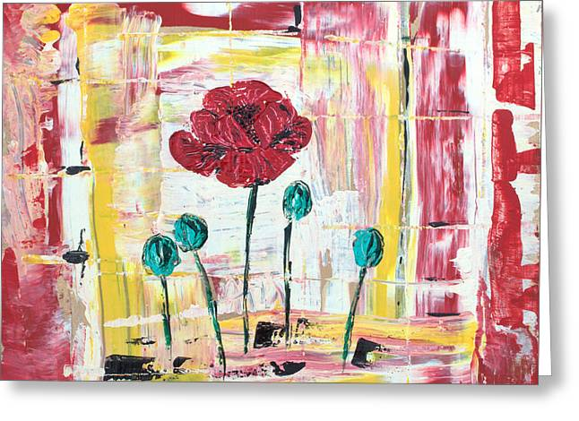 Poppies In The Window Greeting Card