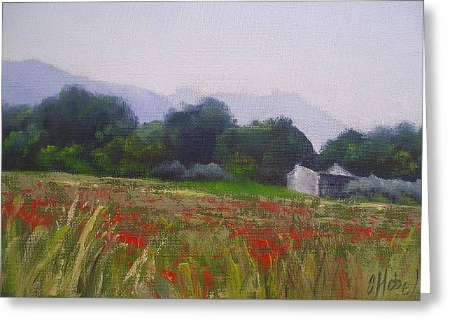 Greeting Card featuring the painting Poppies In Tuscany by Chris Hobel