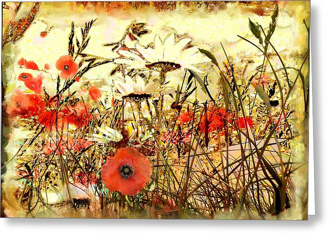 Poppies In Waving Corn Greeting Card by Anne Weirich